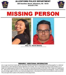 Allentown Police Missing Person and Kevin Easterly Sought