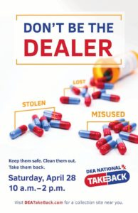"""The Scranton Police Department is a registered collection site for this """"drug take back"""" event on Saturday April 28, 2018 from 10am-2pm."""