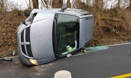 Police say no one hurt in overturned minivan in Lancaster County