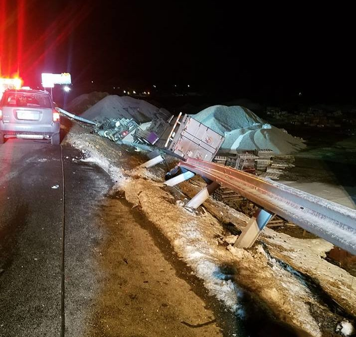 York County 83 north bound, just north of exit 4, overturned tractor trailer