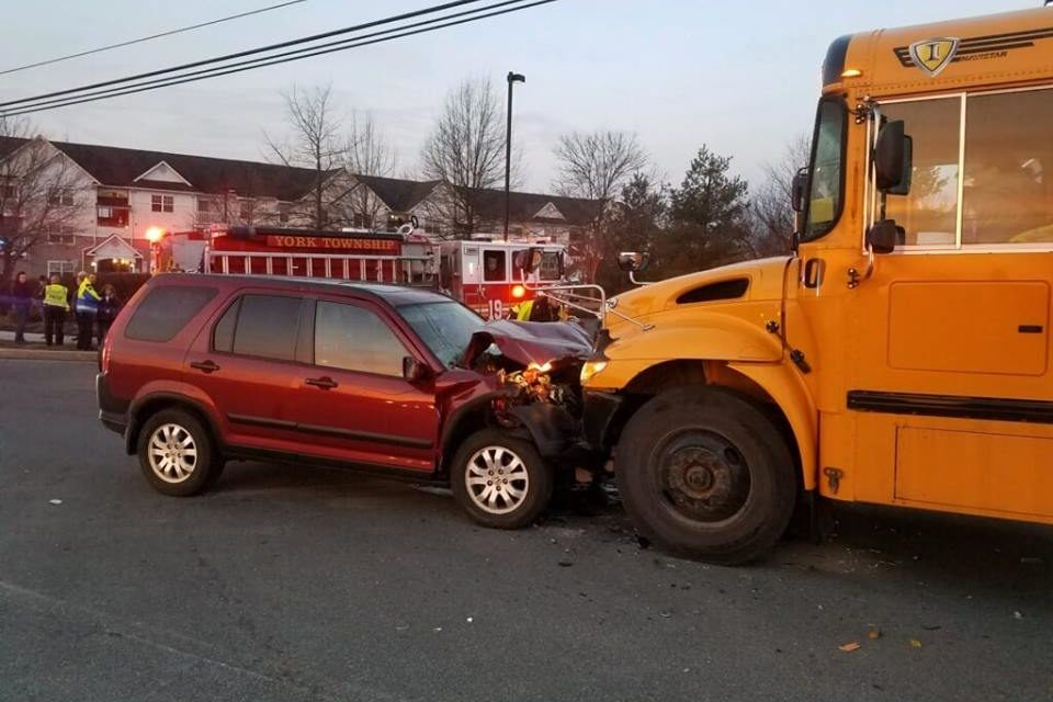 York Regional Police: car strikes school bus in accident this morning, no students hurt, car driver lightly wounded