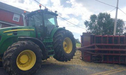 No injuries as tractor  tips in Denver, Lancaster County