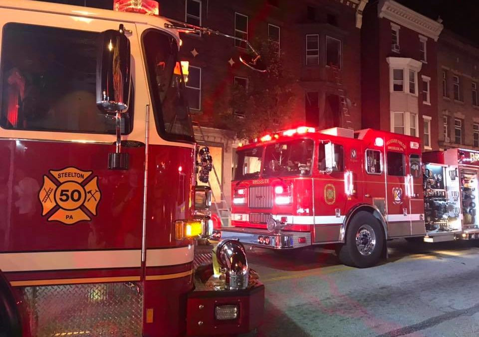 Steelton Fire Department returning from one incident, see and respond to apartment building fire