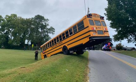 School bus goes of the road in Swatara Township this morning