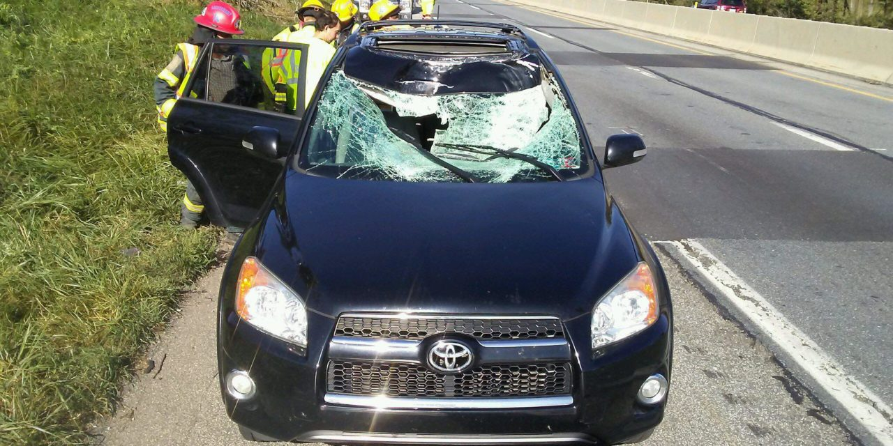 Car struck buy tire that came off of a trailer on Pennsylvania Turnpike, 3 escape injury