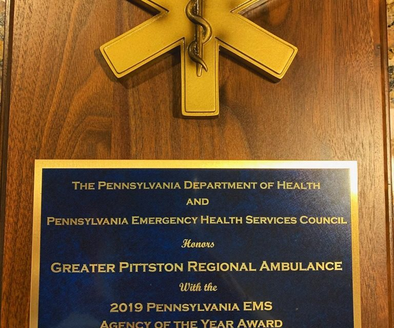 Greater Pittson Regional Ambulance earns 2019 Pennsylvania EMS Agency of the Year Award