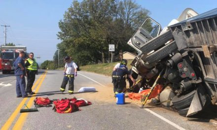 Goodwill Fire Company #1 York Township assists in tractor trailer accident and subsequent diesel fuel spill on Cape Horn Road