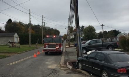 Car accident in Hanover Township leaves telephone poll cracked at the base, no injuries