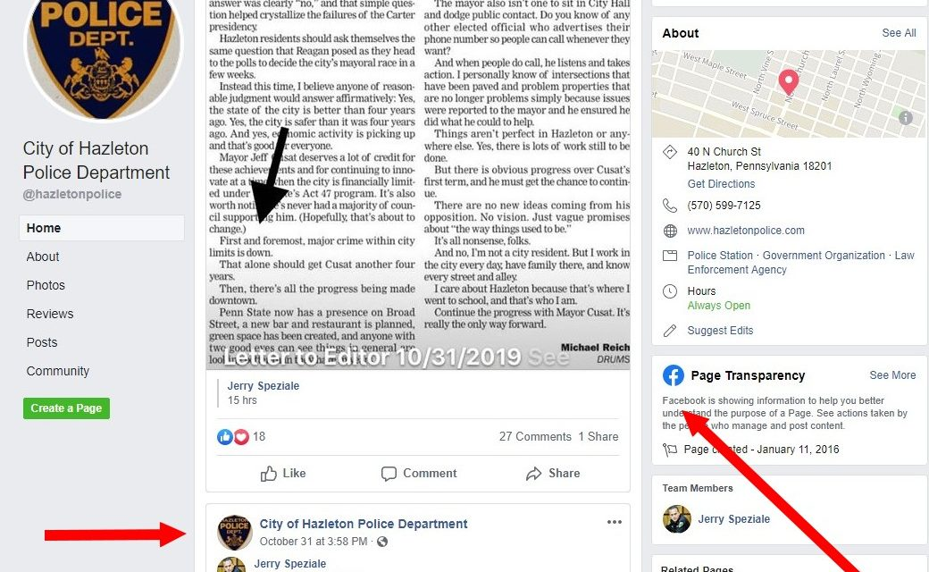 Hazleton Mayor and Chief appear to use official government Facebook pages in Cusat's re-election bid, chief demands off the record