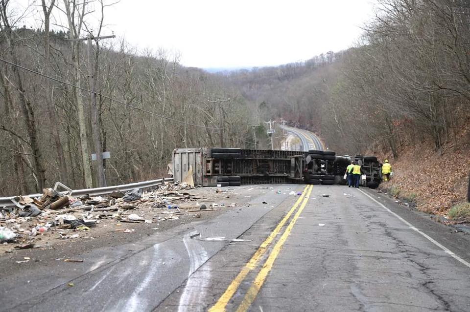 Truck overturns and blocks road on Mintzer's Hill in Hometown
